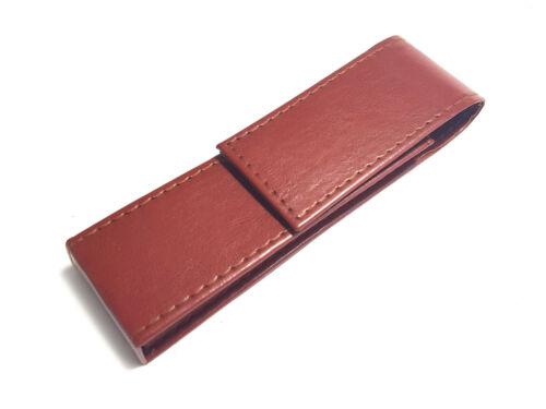 Faux Leather Magnetic Flap Fountain Pen Pencil Case Pouch Holder