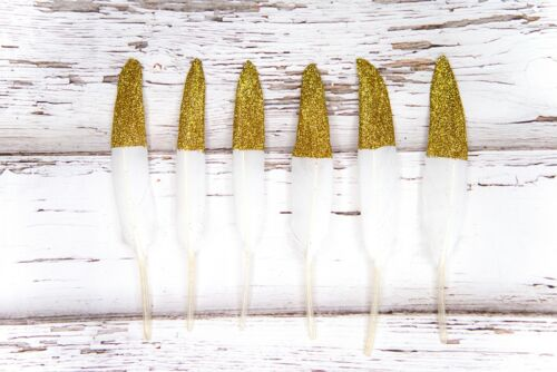 """Gold Glitter Tipped White Feathers 4-6/"""" Great for weddings crafts dreamcatchers"""