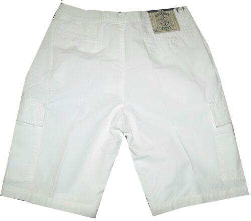 Bermuda uomo 46 48 50 52 54 56 58 60 62 pantalone corto cargo tela canvas Bianco