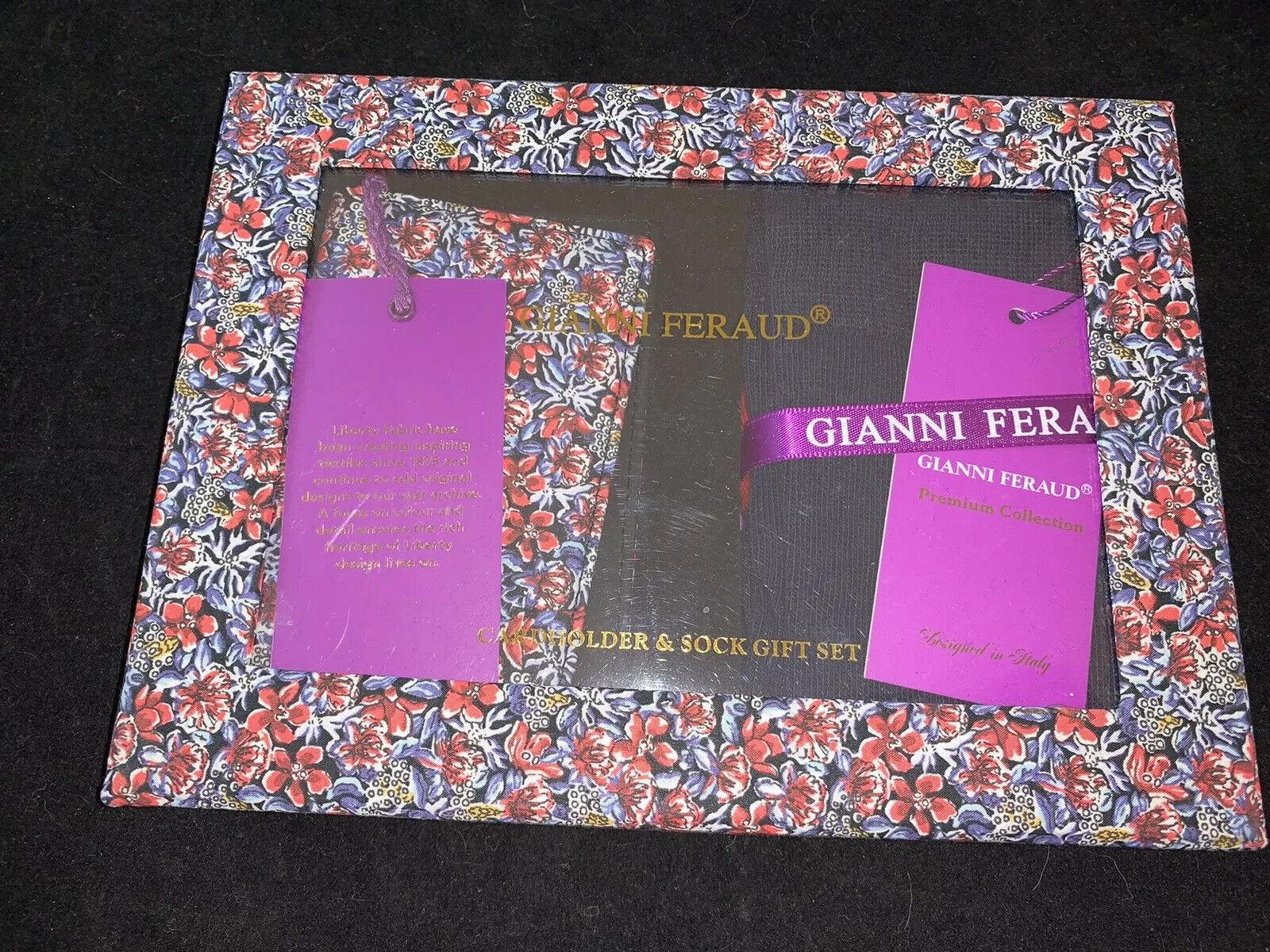 BNIB GIANNI FERAUD CARD HOLDER WALLET With Socks In Gift Box Set RRP