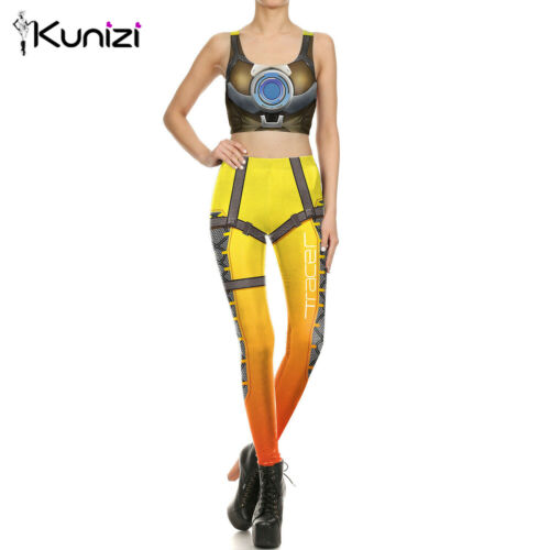 KUNIZI Legging for Women Hero Cosplay Crop Top Workout Sport Pant Summer Bandage