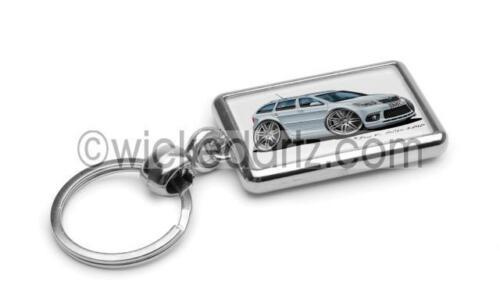 RetroArtz Cartoon Car Skoda Octavia vRS Estate Silver Premium Metal Key Ring