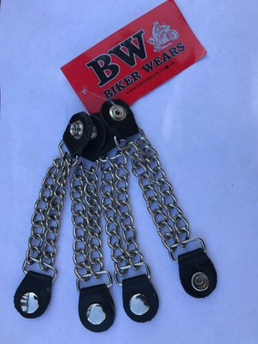 Vest Waistcoat Extenders Biker Double Chain With  Studs SET OF 4