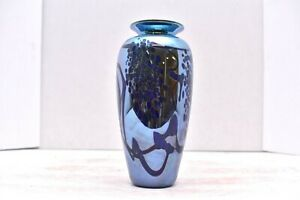 """Studio Art Glass Iridescent Multi Luster signed Carlson Flower Vase Hearts 6.5"""""""
