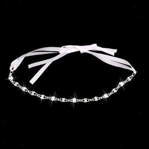 Wedding-Bridal-Crystal-Rhinestone-Silver-Headband-Hair-Chain-Ribbon-Tiara