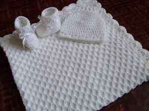 Knit/Crochet Personalized Baby Blanket, Hat and Booties (white 33x33)