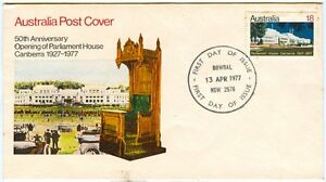 Australia-Post-Cover-50th-Anniv-of-Opening-of-Parliament-House-Canberra-1977