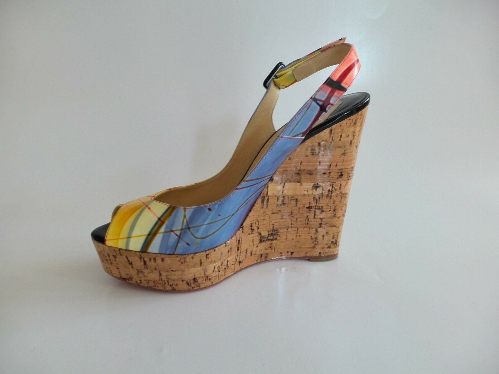 CHRISTIAN CHRISTIAN CHRISTIAN LOUBOUTIN Multi-Couleur Patent Leather Wedge Heels sz. 40 0d9b03