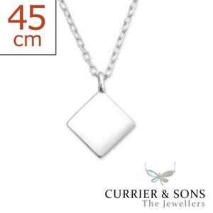 925 sterling silver square pendant necklace 45cm 18 inch ebay image is loading 925 sterling silver square pendant necklace 45cm 18 aloadofball Images