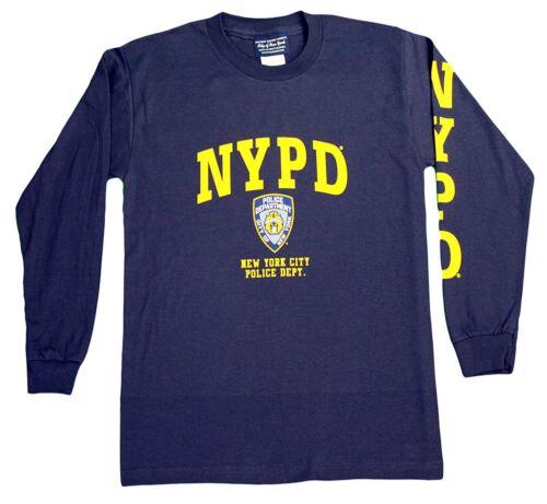 NYPD Kids Long Sleeve Screen Print T-Shirt Navy Yellow