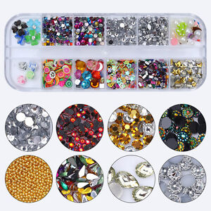 Colorful-3D-Nail-Art-Rhinestones-Beads-Fimo-Sequins-Pearl-Floral-Manicure-DIY