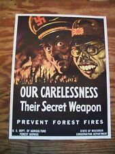 WW2 1943 Wisconsin US Forest Service Firefighting Poster