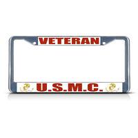Veteran U.s.m.c. Military Metal License Plate Frame Tag Border Two Holes