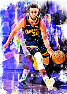 2021-Stephen-Curry-Golden-State-Warriors-Basketball-3-25-Art-Print-Card-By-Q