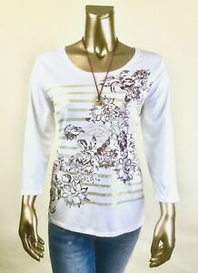 CHICO-039-S-64-NWT-SIZE-2-L-COTTON-MODAL-WHITE-FLORAL-3-4-SLV-TOP