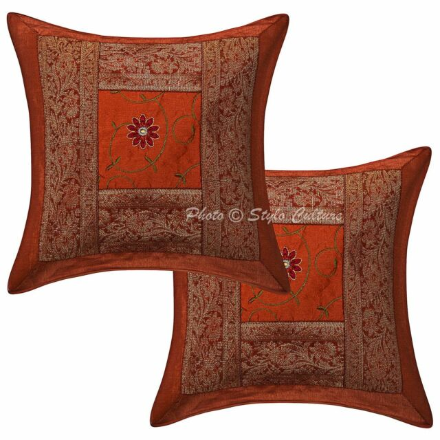 Indian Brocade Elephant Cushion Cover Home Decor Cotton Pillow Case Throw