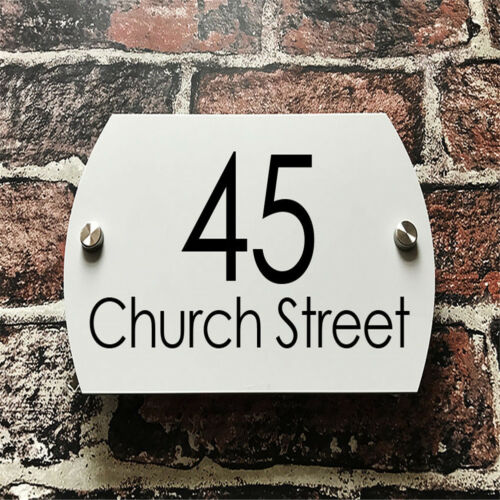 White Modern House Sign Clear Acrylic Business Door Number Street Name Plaque