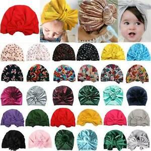 UK Newborn Baby Infant Turban Hat Head Wrap Soft Cotton Headband Beanie Hat Cap