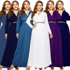 Women-Plus-Size-Evening-Dress-Party-Long-Sleeve-V-Neck-Formal-Gown-Dresses