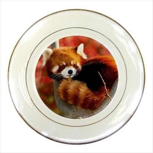 Red Panda Flowers Porcelain Plate w// Display Stand