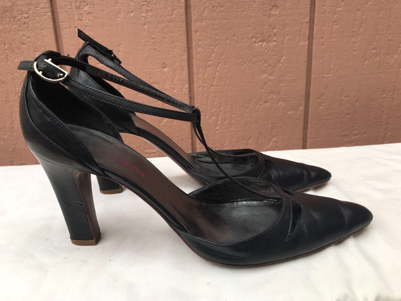 Giorgio Armani Collezioni Collezioni Collezioni Black Leather T-strap Pumps Heels EUR 38 US 7  495 c1f480