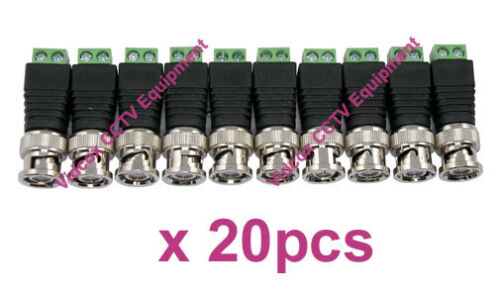 20X Cat5 //6 UTP Cable to Coaxial BNC Male Connector Jack Adapter for CCTV Camera