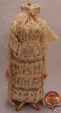 Dollhouse Miniature Dressform In Tan With rosadodo Flowers