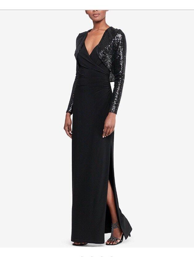 Lauren Ralph Lauren neuf schwarz FEMME Größe 4-6 Sequin Surplis Robe  230