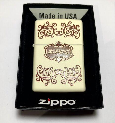 Genuine ZIPPO 216 Retro Design 2 Matte Cream Traditional Brass Windproof Lighter