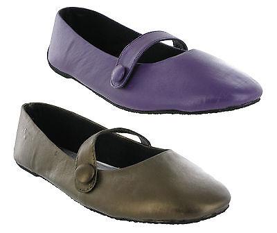 Para Mujer Casual Cuero Suave Ballerina Sandalias Plana Púrpura Y Bronce zapatos del Reino Unido 3-8