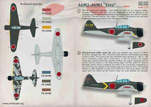 "Print Scale Decals 1/72 Mitsubishi A6M2-A6M3"" Zero "" Parte 2 #72344"