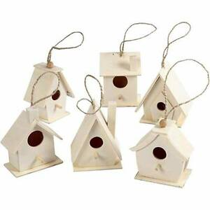 Wooden Bird Houses Poplar Wood Craft Feeding Table Garden