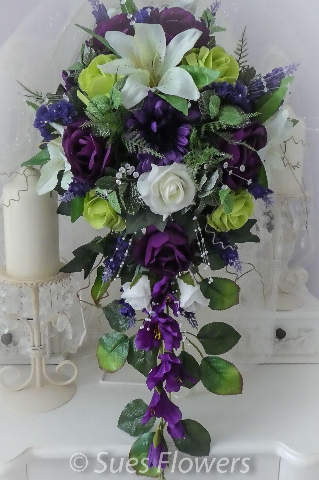Grand mariées larme en cadburys violet, vert citron et ivoire