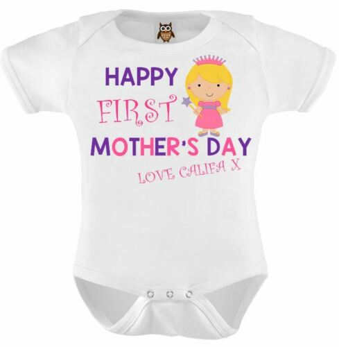 Baby Vest 122 Mothers Day Baby Bodysuit Happy 1st Mothers Day Pink Princess