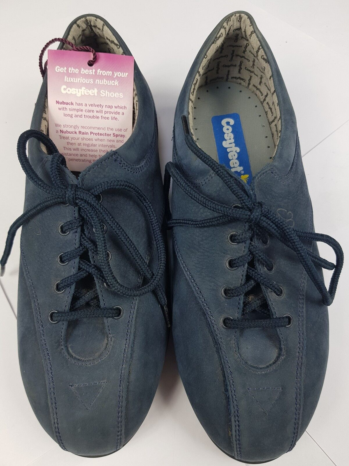 COSYFEET Womans Suede Leather bluee Lace Up shoes Flats UK 6 Extra Roomy