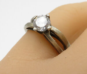 925-Sterling-Silver-Vintage-White-Topaz-Solitaire-Band-Ring-Sz-6-R3051