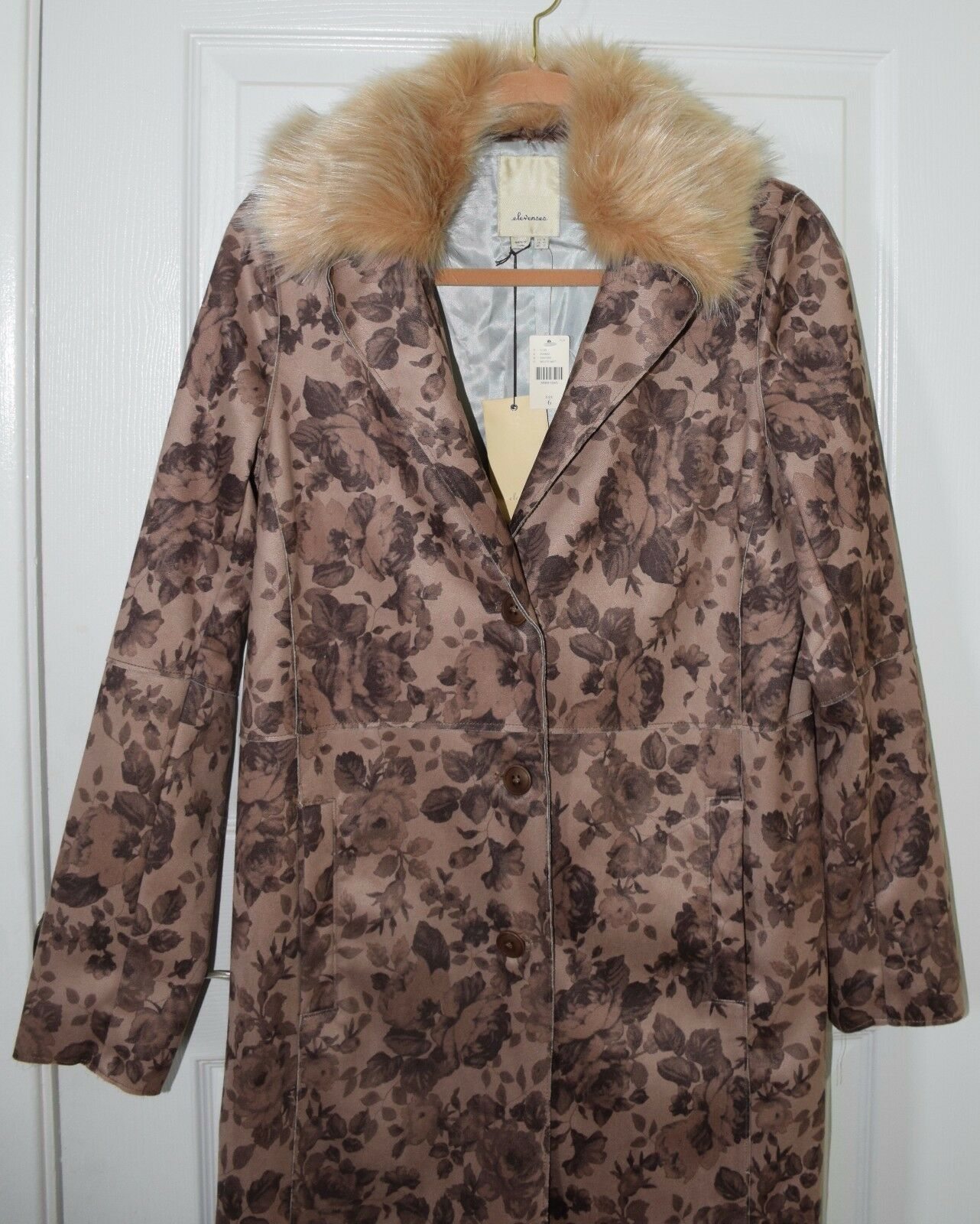 NWT Anthropologie ELEVENSES suede polyester floral brown coat women 6  NEW