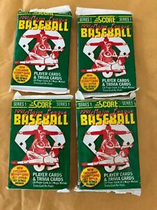 4-Unopened-Pack-of-1991-Score-Major-League-Baseball-Cards-series-1-NEW