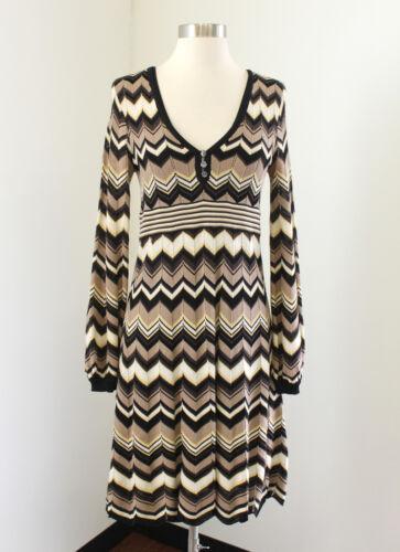 Karen Millen Chevron Striped Knit Dress Sz 2 Brown