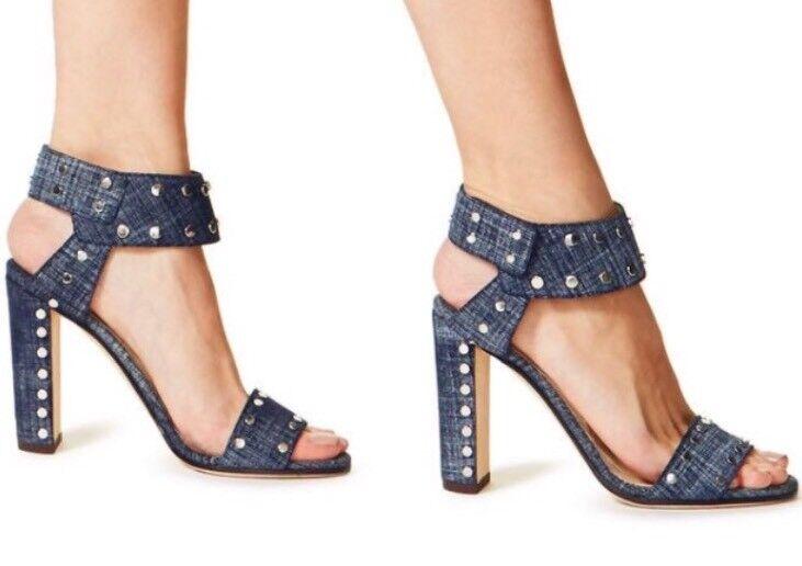 $895 Jimmy Choo Veto Denim blau Studded Open Toe Strappy Heel Sandals IT 36.5