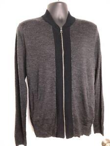 Details about Gap Men's Sz M Gray Merino Wool Zip Up Cardigan Sweater Black trim 2 Pockets EUC