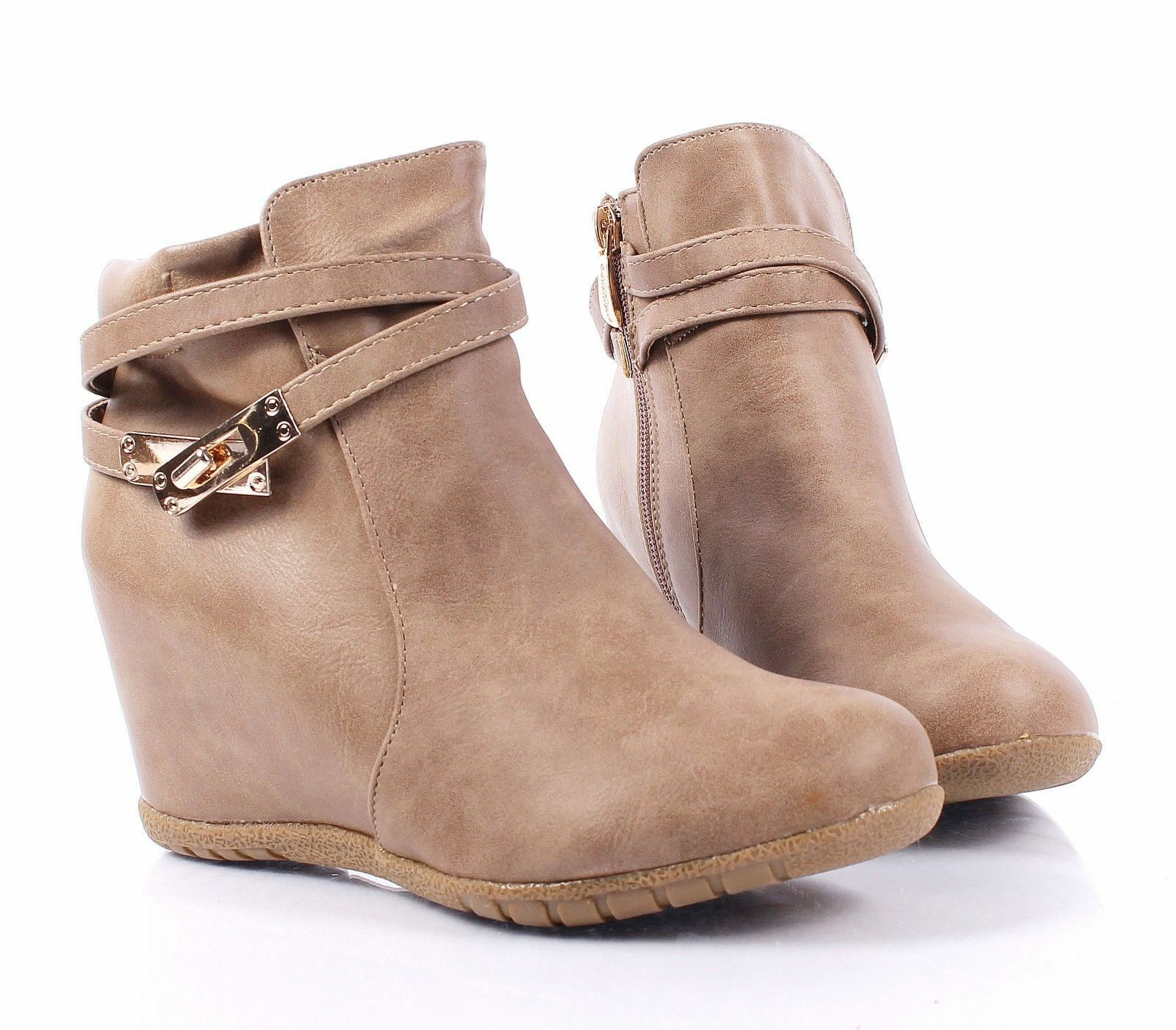 Taupe Fashion Booties Womens Wedges Hidden Heels Pumps Ankle Boots Size 10