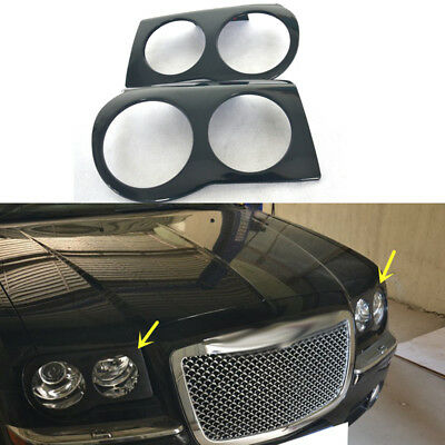 One Pair Chrome Front Bumper Fog Light Driving Lamp Trim Cover for Chrysler 300 Base Limited Touring 2005-2010 Sedan 4-Door 2.7L 3.5L Fog Driving Lamp Hood Trim