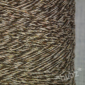 SHETLAND-WEAVING-WOOL-4-PLY-BROWN-TWEED-500g-CONE-TEN-BALLS-KNIT-FELT-MARL