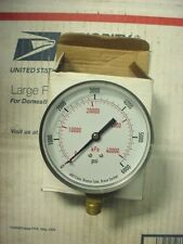 "NEW  0-6000 PSI PRESSURE GAUGE 3 1/2"" AIR OR HYDRAULIC GAGE 1/4"" NPT THREADS"