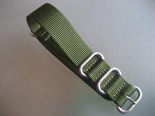 Zulu Strap Nylon Uhrenarmband grün olive Rundringe 22mm Natoband Edelstahl matt