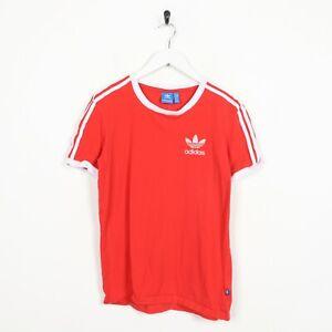 Vintage-Women-039-s-Adidas-Originals-Small-Logo-T-Shirt-Tee-Rouge-UK-6