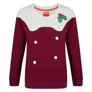 3D Ladies Womens Christmas Jumper Xmas Pudding Mince Pie Novelty Sweater Pom Pom