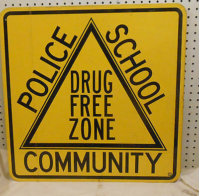 DRUG FREE ZONE SIGN POLICE SCHOOL COMMUNITY 24 X 24 BLACK ON YELLOW