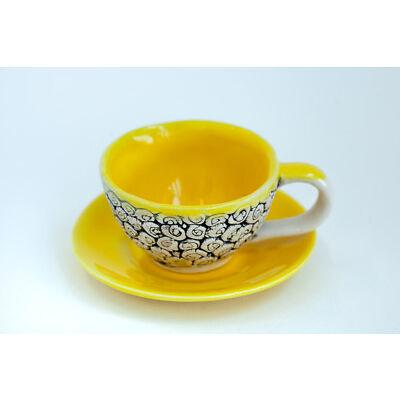 Ceramic Yellow Espresso Set Mug Saucer Abstract Pattern Handmade Pottery